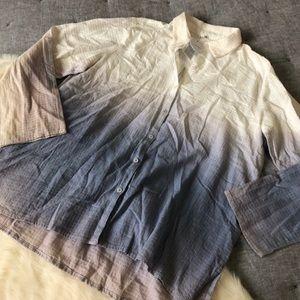 NWT en créme dip dye ombré textured button up sz.L